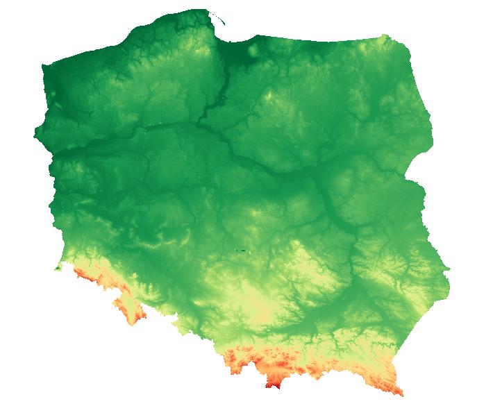 Mapa hipsometryczna Polski (NMT100)