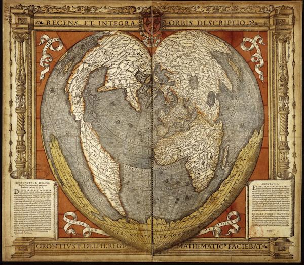 Mapa Recens et integra orbis descriptio. Orontius F[inaeus] Delph[inas], Regis[s] mathematic[us] facebiat