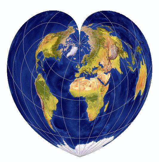 Mapa świata w odwzorowaniu Werner'a