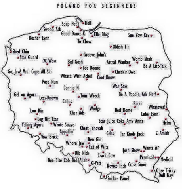 Polskie miasta fonetycznie, źródło: http://seniorjimmy.tumblr.com/post/116415468205